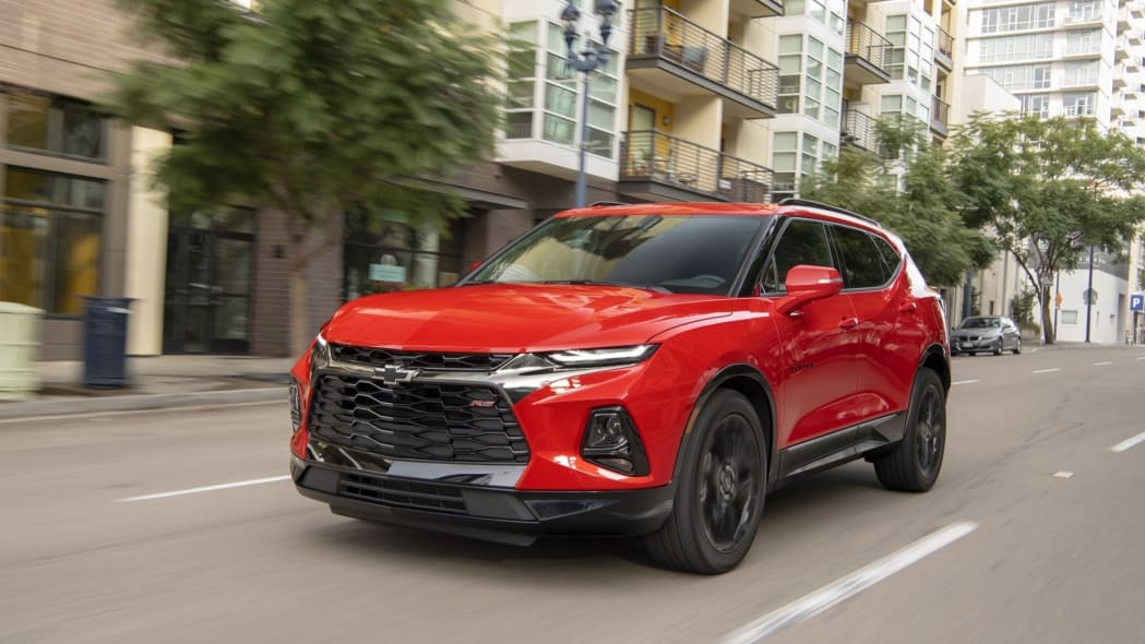 2019 Chevrolet Blazer front city driving red