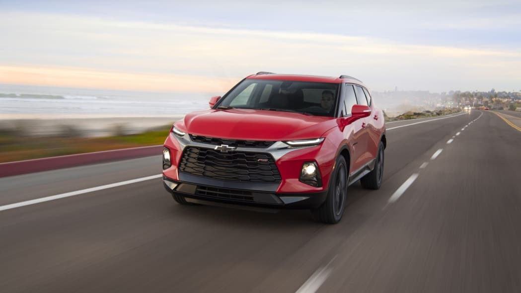 2019 Chevrolet Blazer red driving crossover road