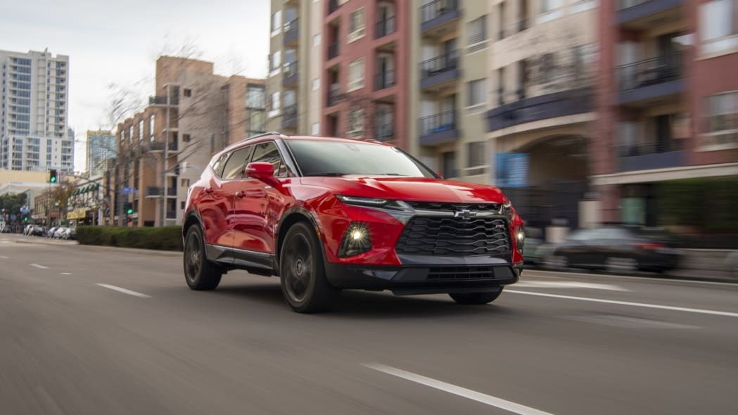 2019 Chevrolet Blazer red front city driving