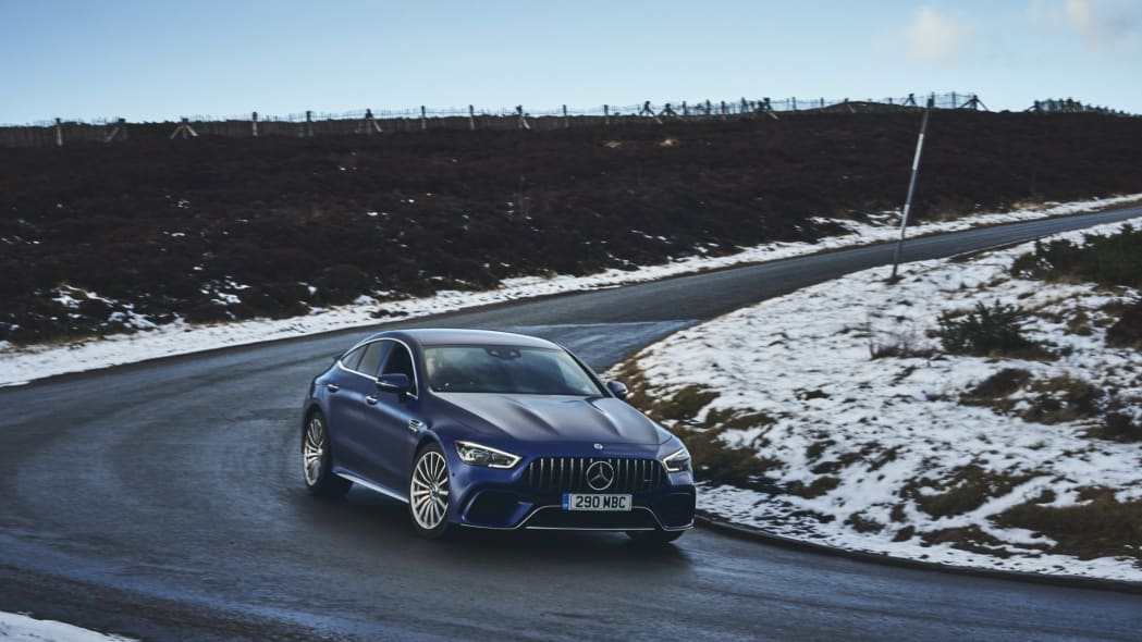 2020 Mercedes-AMG GT 63 S Sedan front corner turn road blue snow