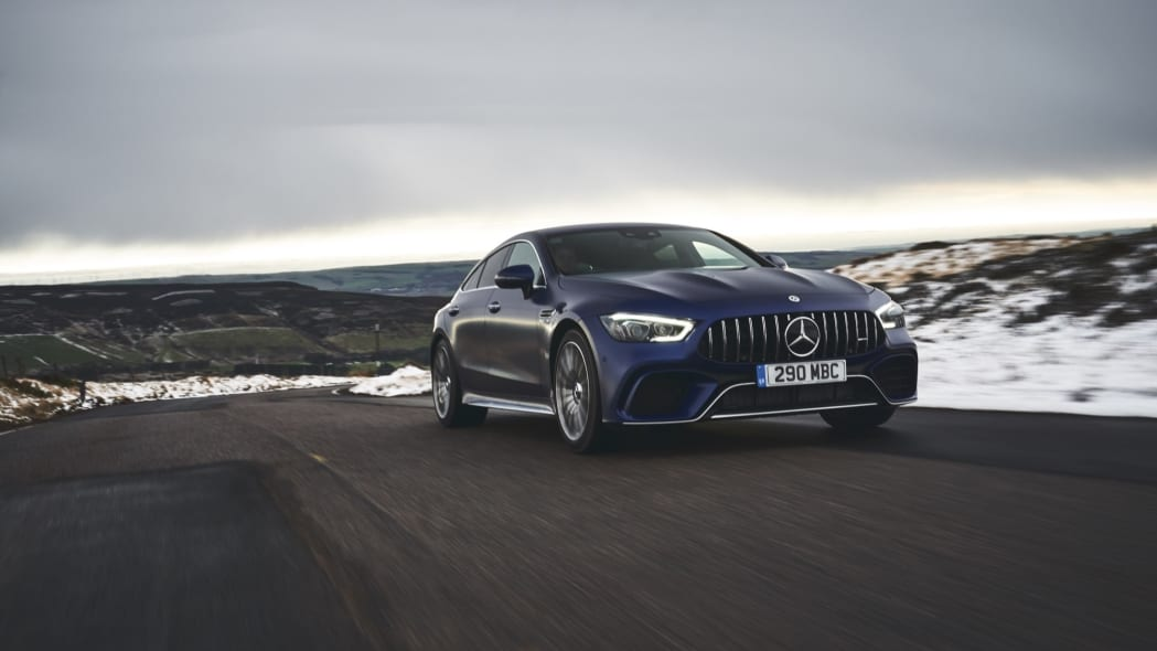 2020 Mercedes-AMG GT 63 S Sedan snow front road blue driving
