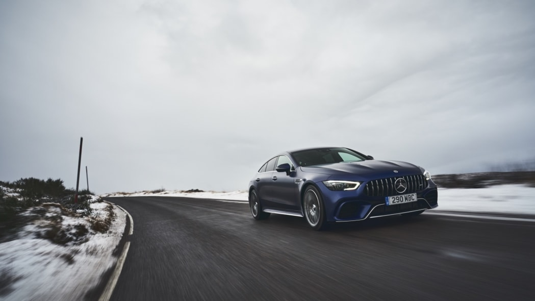 2020 Mercedes-AMG GT 63 S Sedan snow road driving