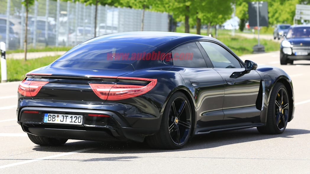 Porsche Taycan spied with less camouflage