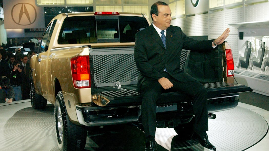 Carlos Ghosn shows off the new Nissan Titan