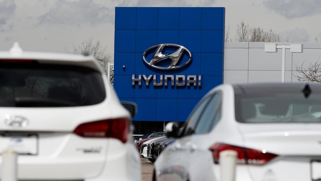 Hyundai logo at a car dealership