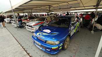 Riding up the Goodwood Festival of Speed rally stage in the