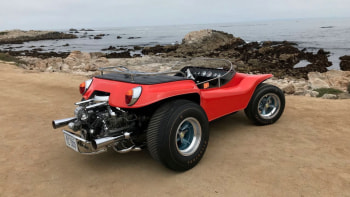 Meyers Manx movie Dune Buggy driven by Steve McQueen goes to