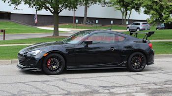 subaru testing a brz with sti badging and a big wing autoblog brz with sti badging and a big wing