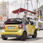 The 2016 Smart Fortwo Cabriolet, rear three-quarter static.