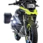 The two-wheel drive Wunderlich BMW R1200 GS LC, which uses a 10kW hub motor up front and a battery pack under the beak, front three-quarter view.