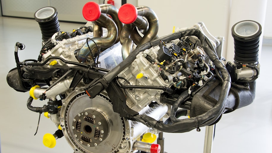 this is the best look youll ever get of the 46 liter race bred v8 that powers the porsche 918 fully assembled and waiting for its turn on the