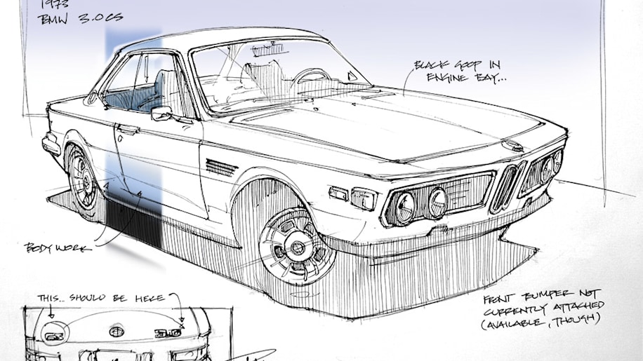 Industrial designer seeking classic car, sketches his finds as he shops