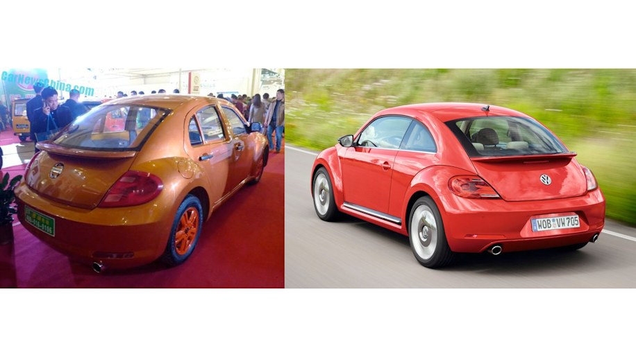 VW Beetle and VIDEOEV prototype copy rear three quarter