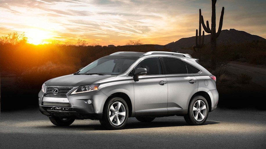 2015 Lexus RX350 in the desert with sunset