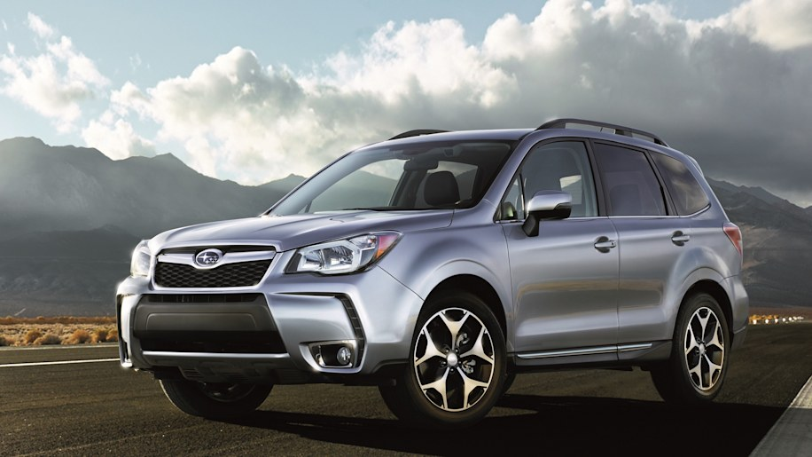 Subaru Forester in silver with clouds