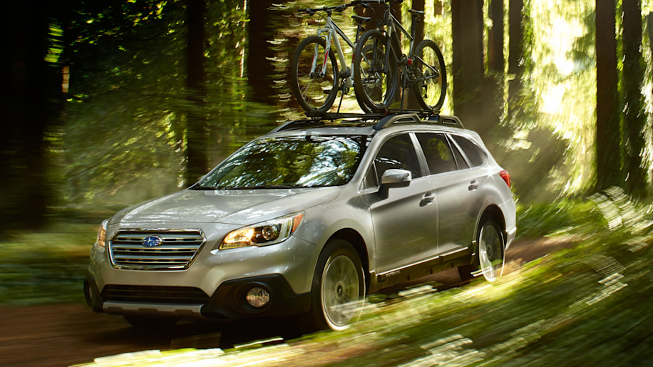 Subaru Outback in the jungle with bicycles