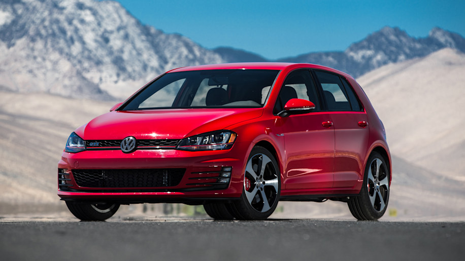 Volkswagen GTI in red with mountain backdrop