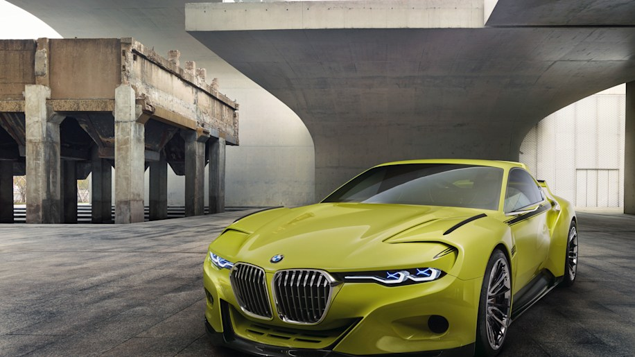 golf yellow bmw 3.0 csl hommage front three quarters