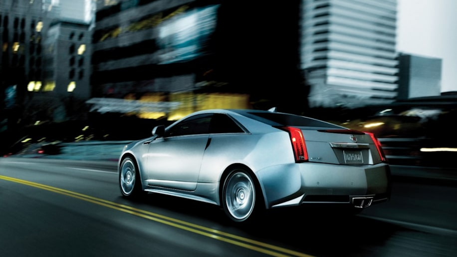 2014 Cadillac CTS Coupe in silver at night