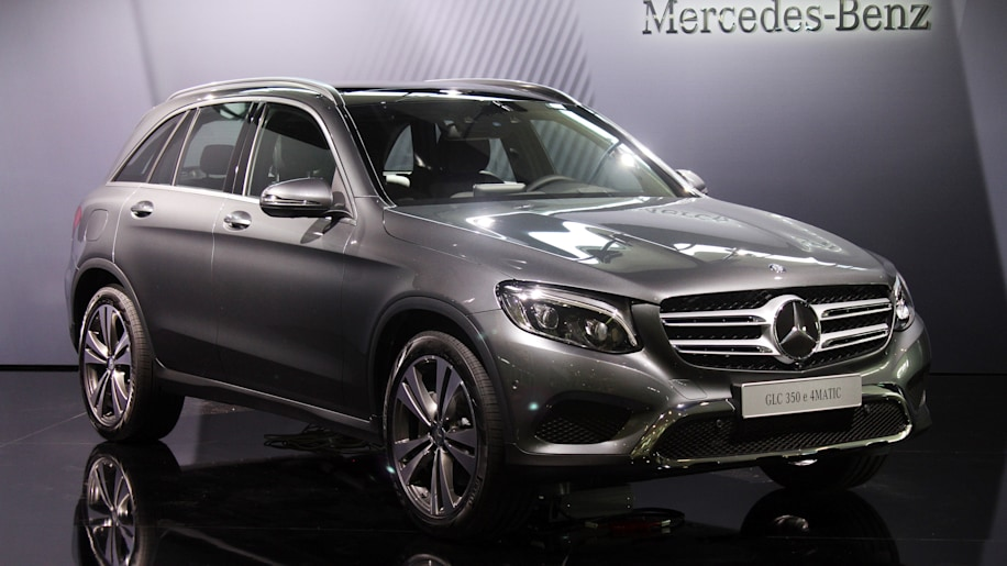 The 2016 Mercedes-Benz GLC 350e unveiled in Stuttgart, front three-quarter view.