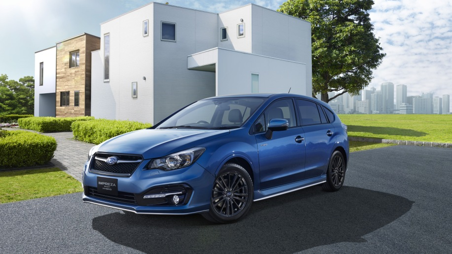 blue subaru impreza sport hybrid in front of house