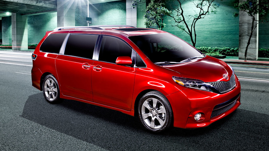 red 2015 toyota sienna front three quarters at night