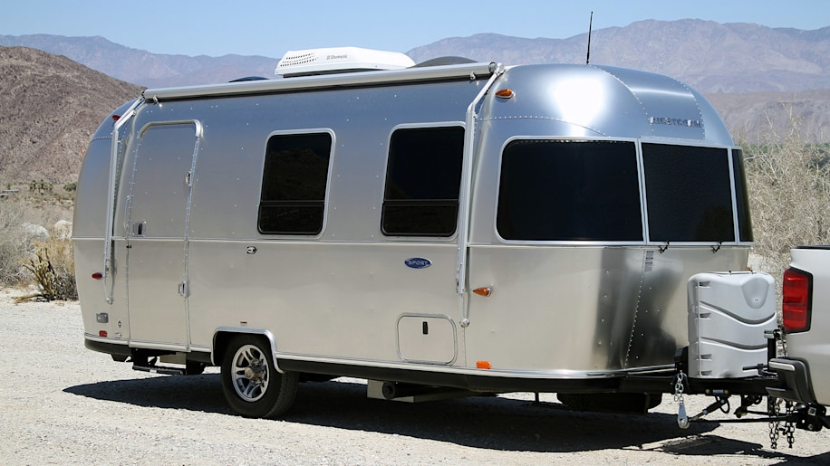Airstream Bambi Sport 22 front 3/4 view