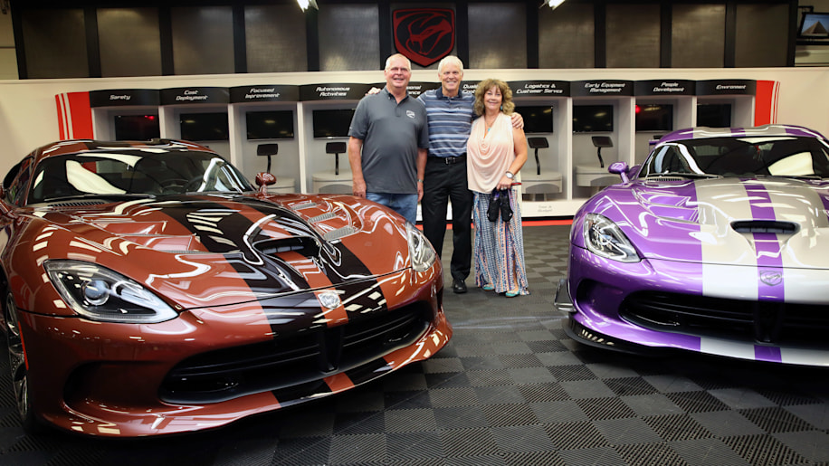 Brown and purple Dodge Vipers