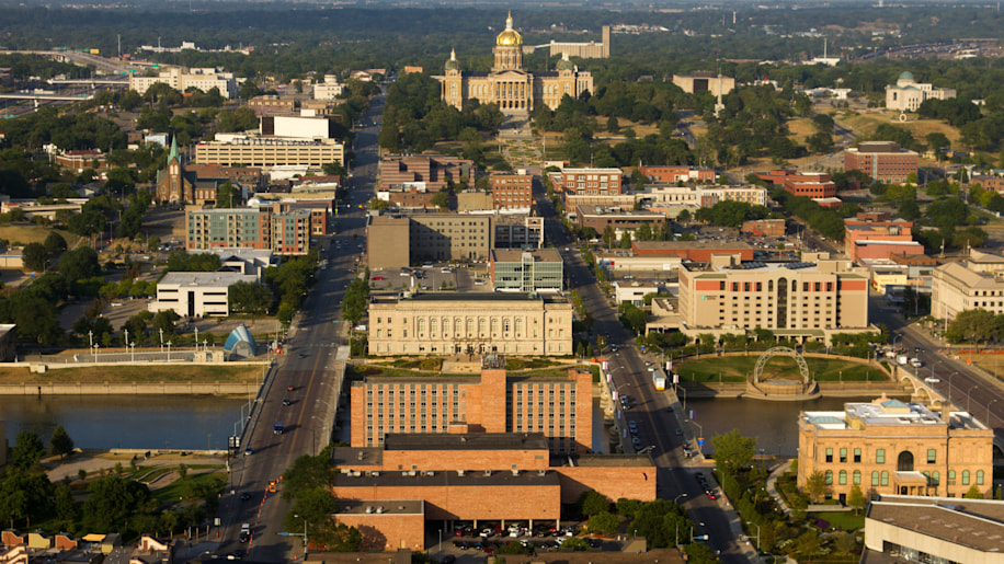 Aerial view of Des Moines downtown buildings, Des Moines River, and Iowa state capitol building