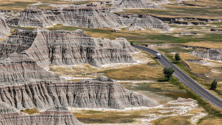 Lonely Campervan in Badlands National Park, South Dakota, USA