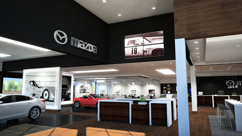 A rendering of Mazda's new dealership design language, called 'Retail Evolution.'