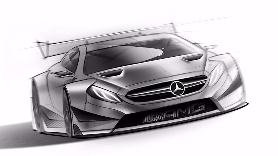 The 2016 Mercedes-AMG DTM entry based on the C 63 Coupe, front three-quarter view.