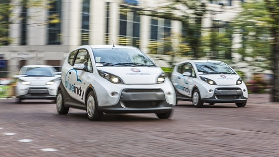 BlueIndy Carsharing EVs on the road