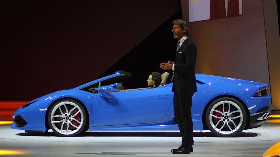 The 2016 Lamborghini Huracan Spyder is unveiled to the press by CEO Stephan Winklemann at Volkswagen Group Night ahead of the 2015 Frankfurt Motor Show, side view.