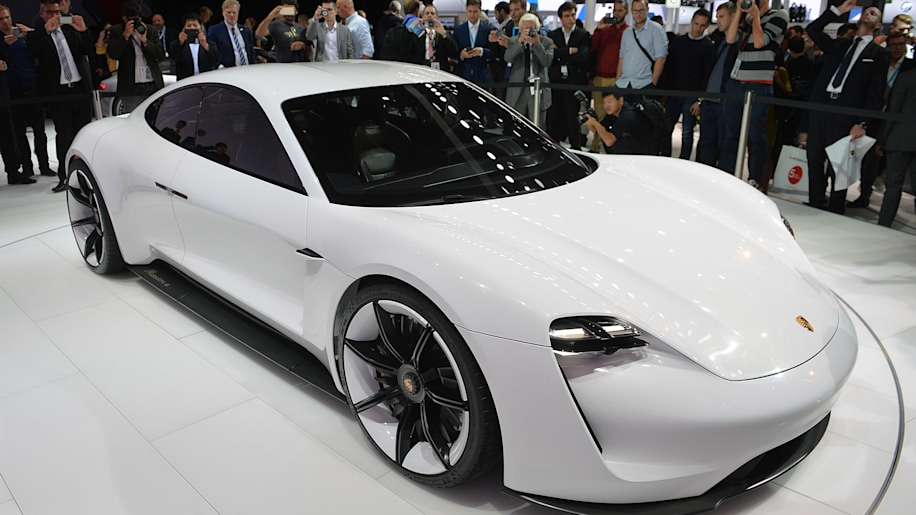 The Porsche Mission E concept, showed off at the 2015 Frankfurt Motor Show, front three-quarter view.