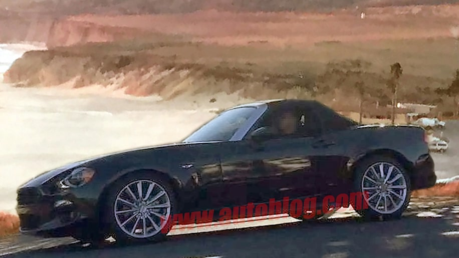 fiat 124 spider spy shots photos california beach