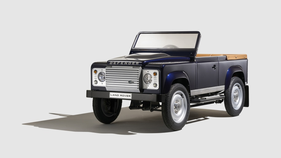land rover defender pedal car front three quarters