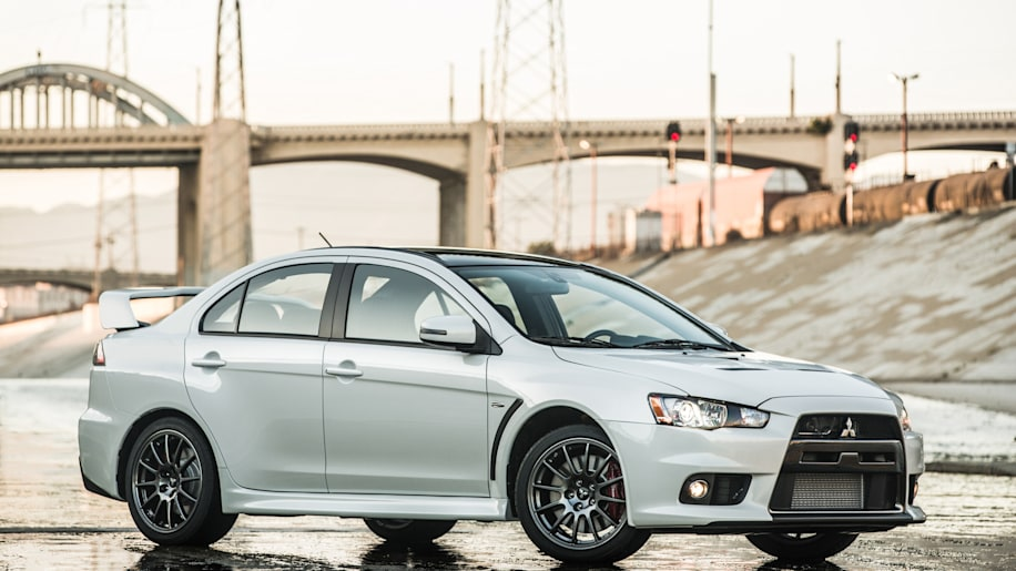The 2015 Mitsubishi Lancer Evolution Final Edition, front three-quarter.