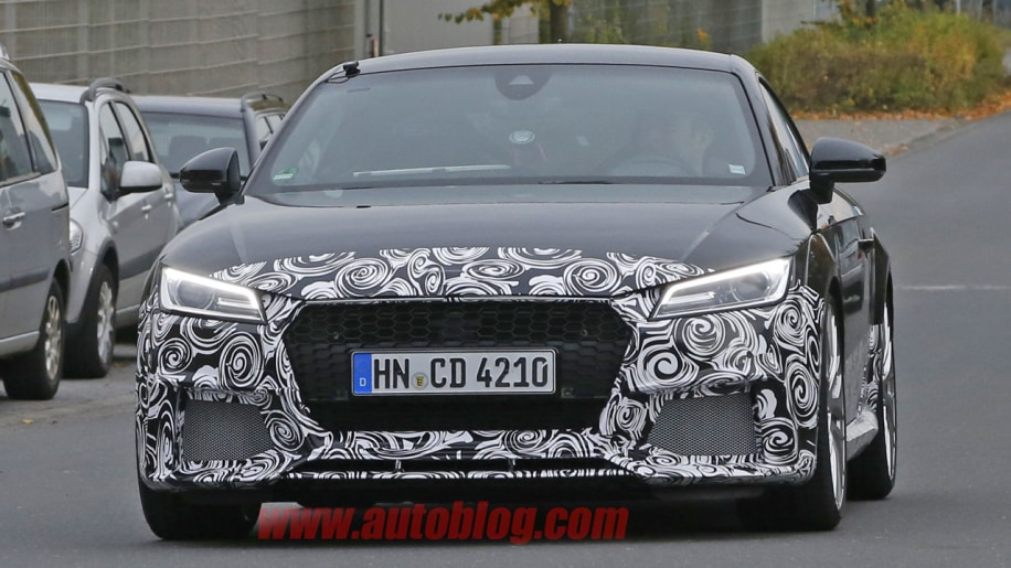 camouflaged audi tt rs spy shot front