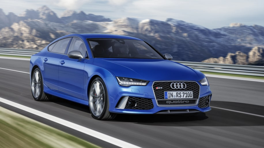 blue audi rs7 sportback performance on the road