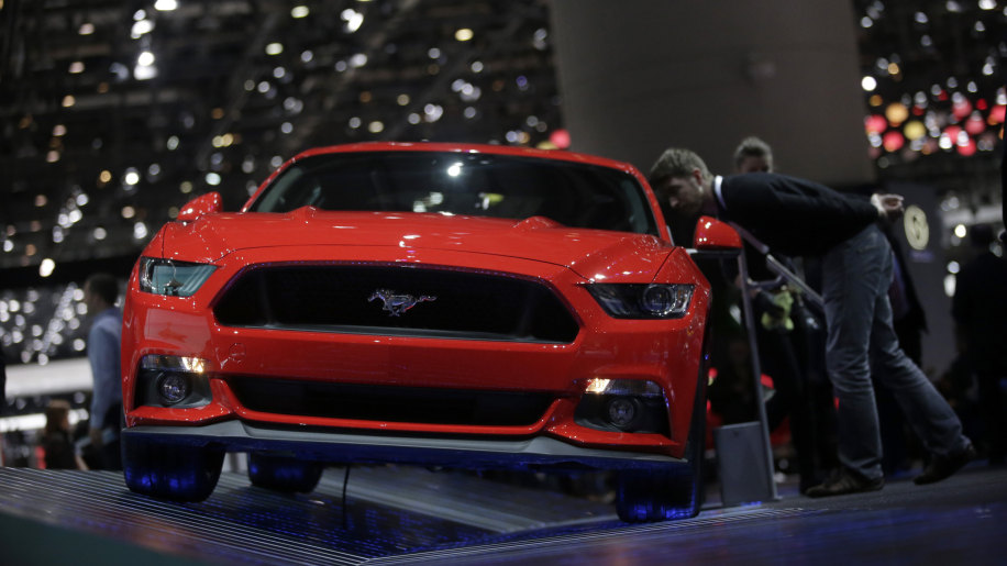 2015 Ford Mustang coupe in red