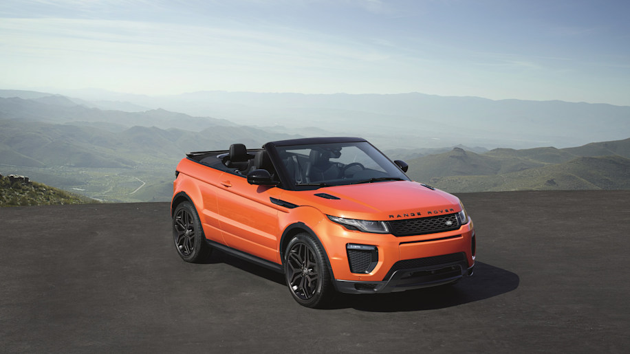 The 2017 Range Rover Evoque Convertible, front three-quarter overhead view.