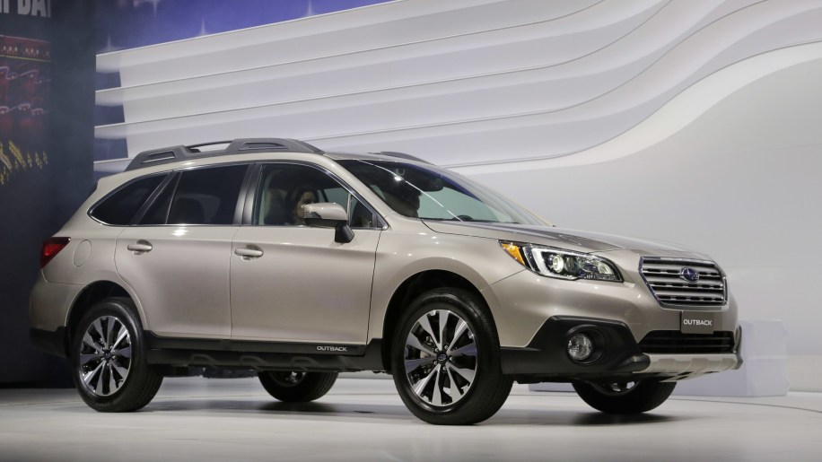 Subaru Outback crossover wagon in tan