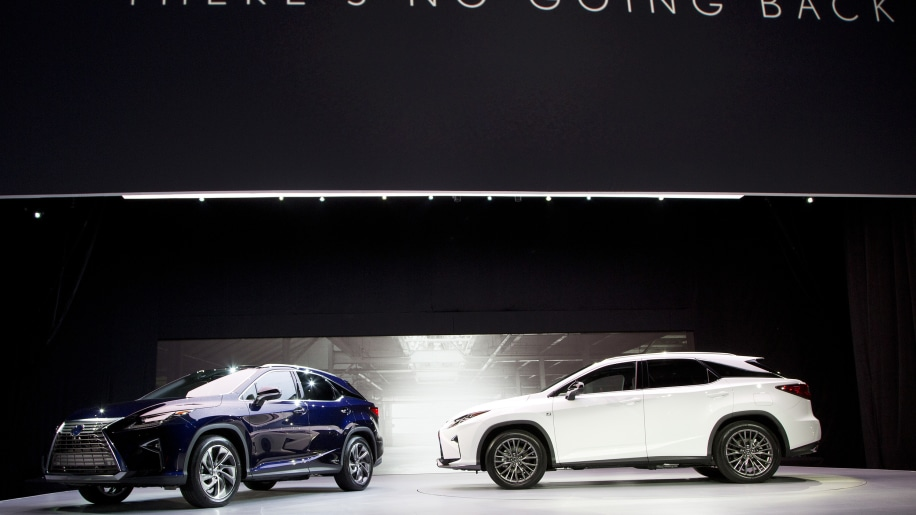 2016 Lexus RX crossovers in blue and white