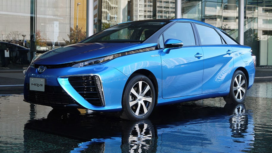2016 Toyota Mirai sedan in blue on water