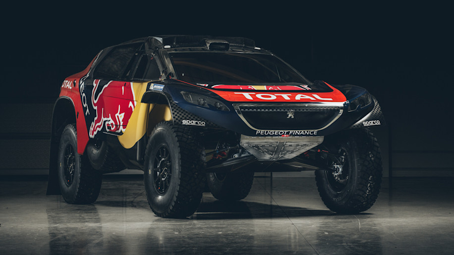 The Peugeot 2008 DKR for the 2016 Dakar Rally, front three-quarter view.