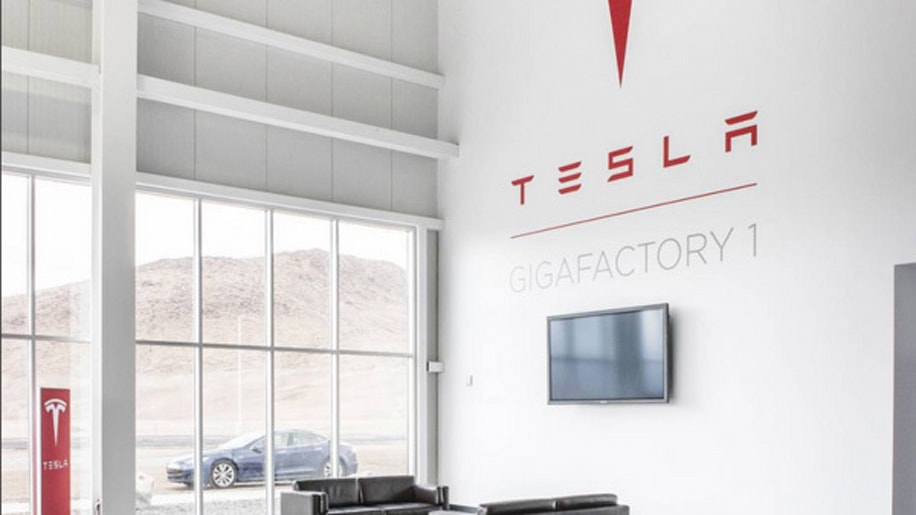 The lobby of Tesla Gigafactory 1 in Sparks, Nevada.