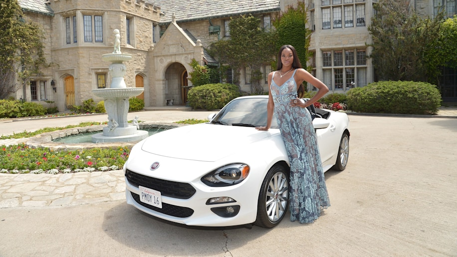 Eugena Washington with Fiat 124 Spider