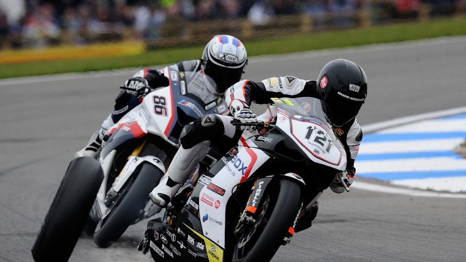 Maxime Berger loses a wheel in World Superbike competition at Donington Park