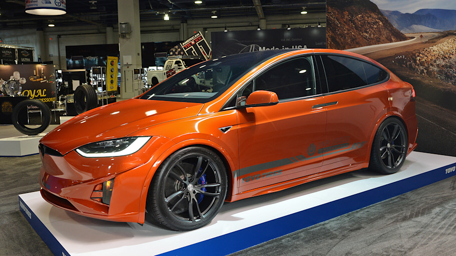 Sema Tesla Model X Adds Bright Orange Carbon Fiber Rear